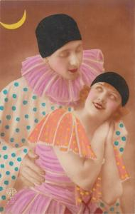 circus harlequin costumes couple moon masquerade photo postcard
