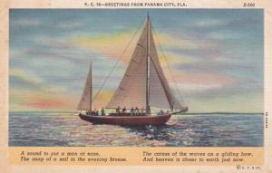 Florida Panama City Greetings Sailing Scene Curteich