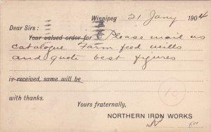 Northern Iron Works Postal card, WINNIPEG , Manitoba , Canada , PU-1904