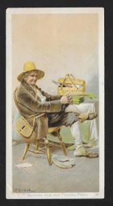 VICTORIAN TRADE CARD Newsboy Plug Tobacco Fisherman