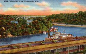 Minnesota Minneapolis Scene On Mississippi River Curteich