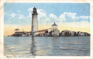 Boston Harbor Massachusetts~Graves Light House~Wooden Walkways~1920s Postcard