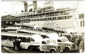 Benton Harbor MI Greyhound Bus Roosevelt Steam Ship RPPC Real Photo Postcard