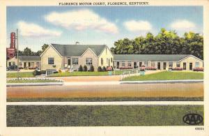 Florence Kentucky Motor Court Street View Linen Antique Postcard K22117