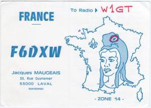 QSL, F6DXW, Laval, Mayenne, France, 1976