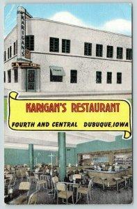 Dubuque Iowa~Karigan's Restaurant~Fourth & Central~Lunch Counter~ART DECO Linen