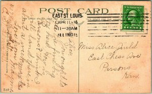St. Louis, Missouri Postcard EADS BRIDGE, Mississippi River 1916 IL Cancel