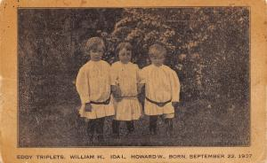 Howard Lake Minnesota~WH Eddy Triplets Born 1907~Victor Nurseries Adv PC~1910