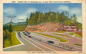 POSTCARD GREAT SMOKY MOUNTAINS   PARK  NEWFOUND GAP ROCKEFELLER MEMORIAL