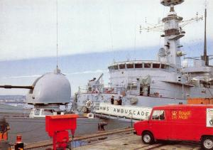 Royal Mail Postcard, Delivering to HMS Ambuscade in Plymouth Dock 37S