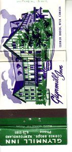Matchbook Cover ! Glynmill Inn, Corner Brook, Newfoundland !