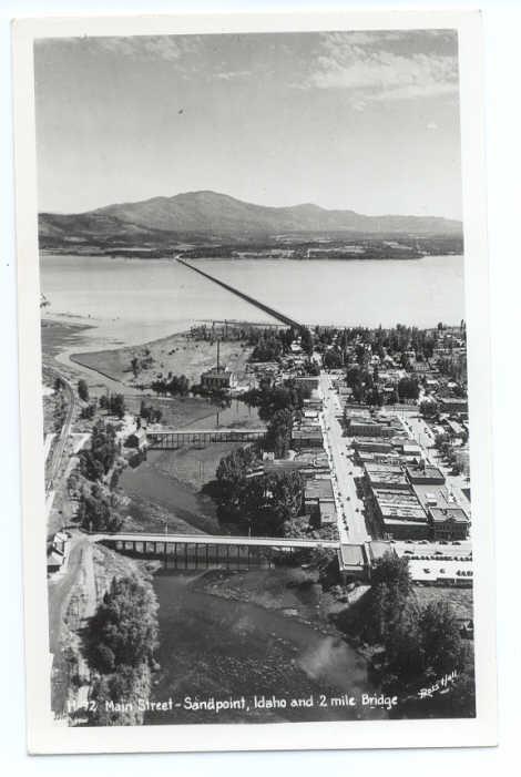 RPPC of Air View of Main Street Sandpoint Idaho ID & 2 Mile Long Bridge