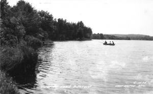 Lake Delton Wisconsin Dells~Men Fishing from Row Boat near Shoreline~1940s RPPC