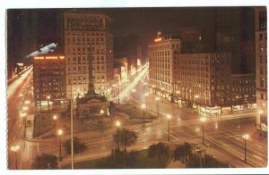 Cleveland's Public Square at night, unused Postcard