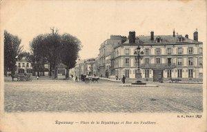 France Epernay Place de la Republique et Rue des Fusilliers Postcard