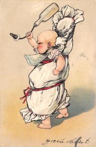 PFB Comic~Angry Baby Man Swings Bottle~Bib~Bunting~Embossed~1904~Ser 3015