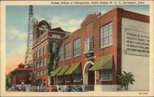 Davenport IA Palmer School Chiropractic Radio Station WOC Linen Postcard