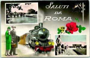 Vintage ITALY RPPC Postcard SALUTI DA ROMA Multi-View Train Scene Tinted Photo