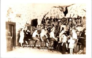 RPPC  TUCSON, AZ Arizona  FRONTIER  Cowboy  BAR  c1940s   Roadside  Postcard