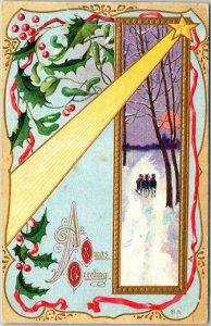 Vintage 1910s CHRISTMAS Embossed Postcard An Xmas Greeting Series 31 / UNUSED