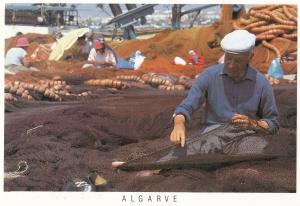 Algarve Fishing Net Maker Trader Portugal Postcard