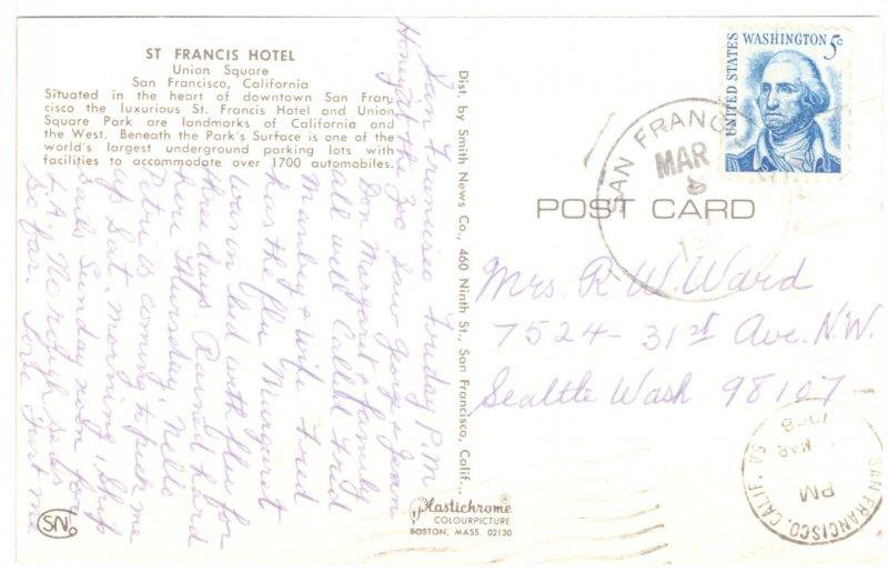 US    PC3324  ST FRANCIS HOTEL, SAN FRANCISO, CA