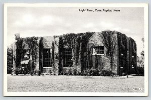 Coon Rapids Iowa~Ivy Covered Light Plant~1941 B&W Curteich Photo-Cote Postcard