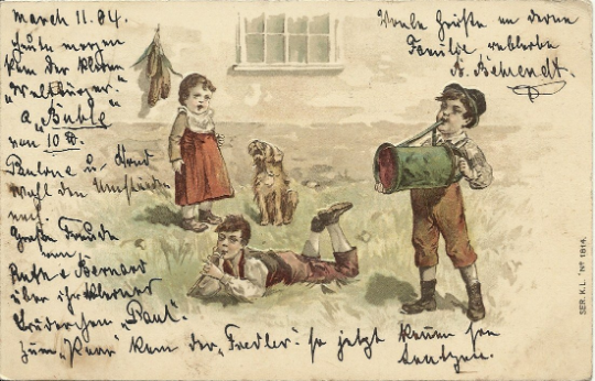 Children Playing Musical Instruments Outside on Grassy Lawn over 100 Years Old