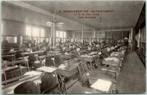 1910s DES MOINES, Iowa Postcard A Bookkeeping Department C.C.C. COLLEGE Unused