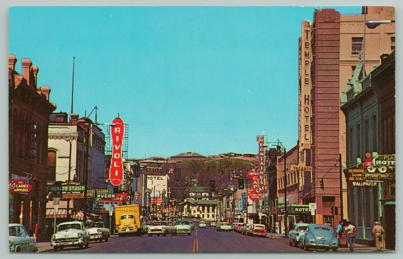 Pendleton Oregon~Main Street~Optometrist Eyes Sign~Temple Hotel~1950s Cars