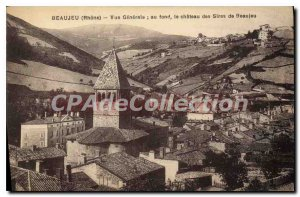 Postcard Old Bueaujeu Rhone Vue Generale in the background the castle of the ...