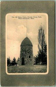 1912 West Somerville, Massachusetts Postcard Old Stone Tower Powder House Park