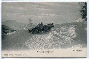 Toboggan Sled Virage Dangereux Winter Sport Switzerland 1910c postcard