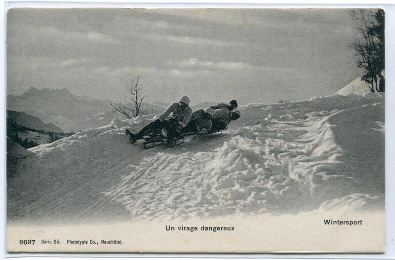 Toboggan Sled Virage Dangereux Winter Sport Switzerland 1910c postcard
