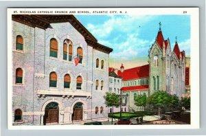 Atlantic City NJ-New Jersey St Nicholas Catholic Church School Vintage Postcard