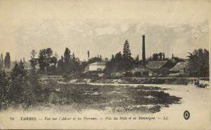 france, TARBES, Vue sur l'Adour et les Pyrenees, Factory (1920s) LL