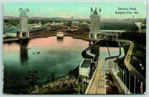 Kansas City MO~Electric Amusement Park~View Down Chutes~Men by Lagoon~1913