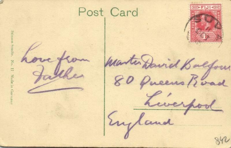 fiji islands, SUVA, Harbour Scene (1910s) Stamp, Stinson Studio 11