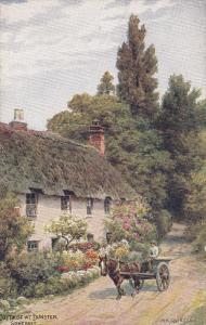 SOMERSET, England, 1900-1910's; Cottage At Dinster, Horse Carriage