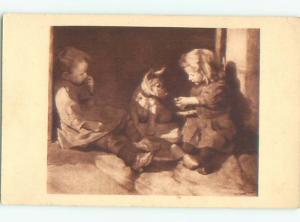 foreign 1937 Postcard signed GIRL FEEDING CUTE DOG AC3836