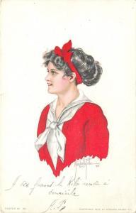 Alice Luella Fidler~Girl~Red Bow In Hair~Sailor Shirt~Red Sweater~#50~E Gross