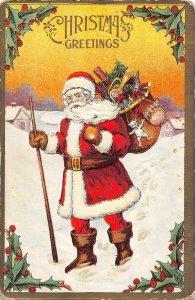 Santa Bag of Toys Merry Christmas 1910c postcard