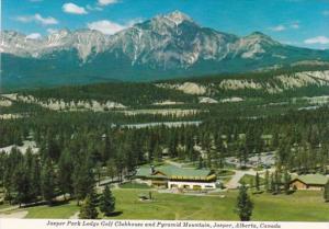 Canada Alberta Jasper Park Lodge Golf Clubhouse and Pyramid Mountain