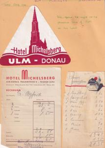 Hotel Michelsberg Ulm Donau Coffee 3x 1950s Receipt s