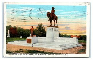 Postcard Monument to Nathanial Greene, Guilford Battle Ground, Greensboro NC L35