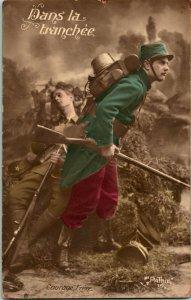 Vtg 1910s RPPC Prima Guerra Mondiale Francese Soldier Studio Vista  Nel Trincee