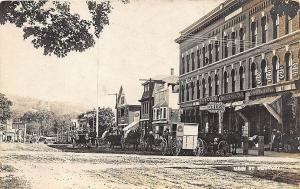 Newport NH Store Fronts Dirt Main Street Horse & Wagons RP Postcard