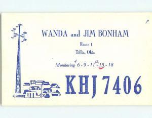 comic - QSL CB HAM RADIO CARD Tiffin Ohio OH t8760
