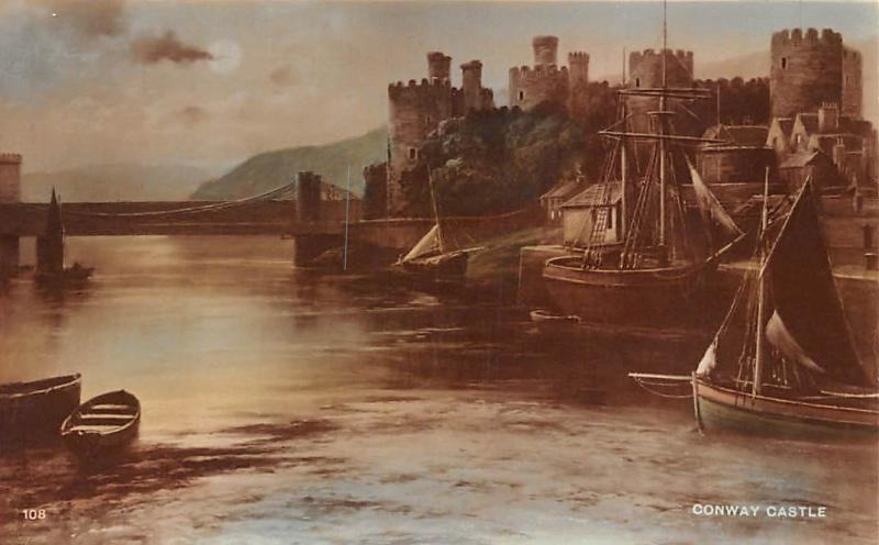 Wales Conwy Conway Castle, Boats, Moonlight, Dennis' Carbon Bromide Real Photo