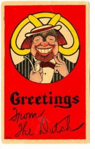 Greetings from the Dutch, Portrait of smiling man holding two fingers up and ...